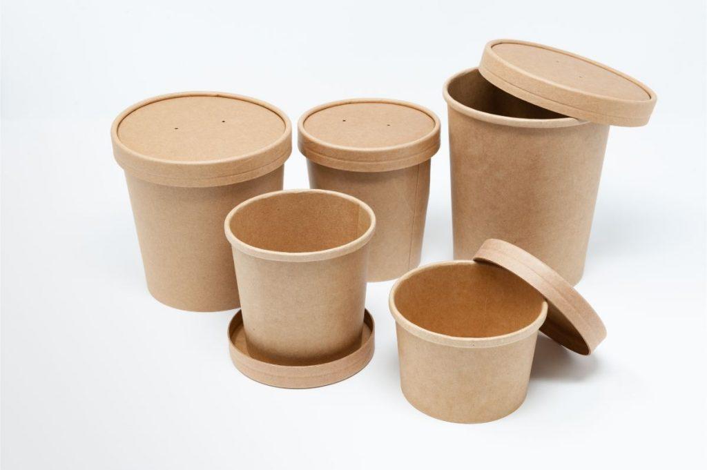 Ciotole per minestra cartoncino compostabile avana dimensioni diverse