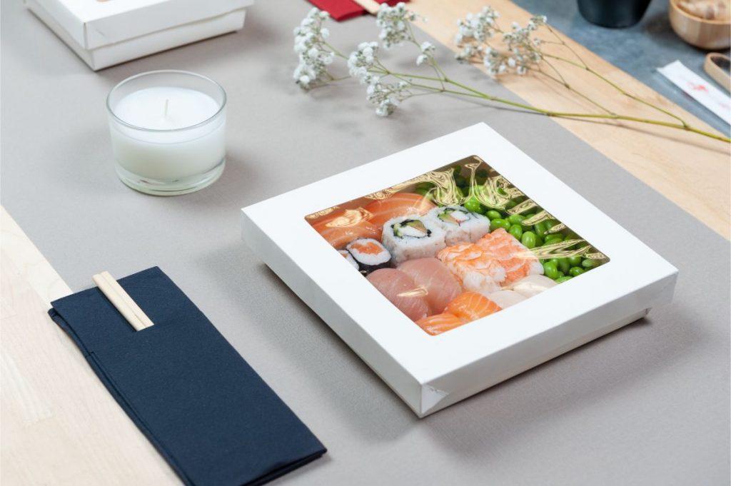Sushi box cartoncino compotsbaile bianco + finestra PLA dimensioni diverse 1