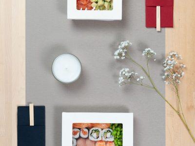 Sushi box cartoncino compotsbaile bianco + finestra PLA dimensioni diverse 3